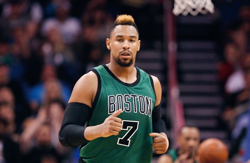 Nov 29, 2015; Orlando, FL, USA; Boston Celtics center Jared Sullinger (7) runs down court during the second half of a basketball game against the Orlando Magic at Amway Center. Mandatory Credit: Reinhold Matay-USA TODAY Sports