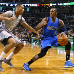 Jan 2, 2015; Boston, MA, USA; Dallas Mavericks guard Rajon Rondo (9) looks for an opening around Boston Celtics guard Avery Bradley (0) during the first quarter at TD Garden. Mandatory Credit: Winslow Townson-USA TODAY Sports